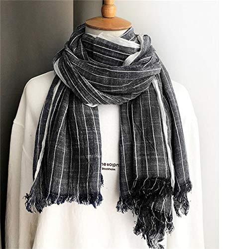 UKKD Schal Marine-Blau-Vintage-Baumwolle Leinen Herren Schal-Winter-Frauen-Poncho Herbst Hijab Weiblicher Schal,Farbe 2