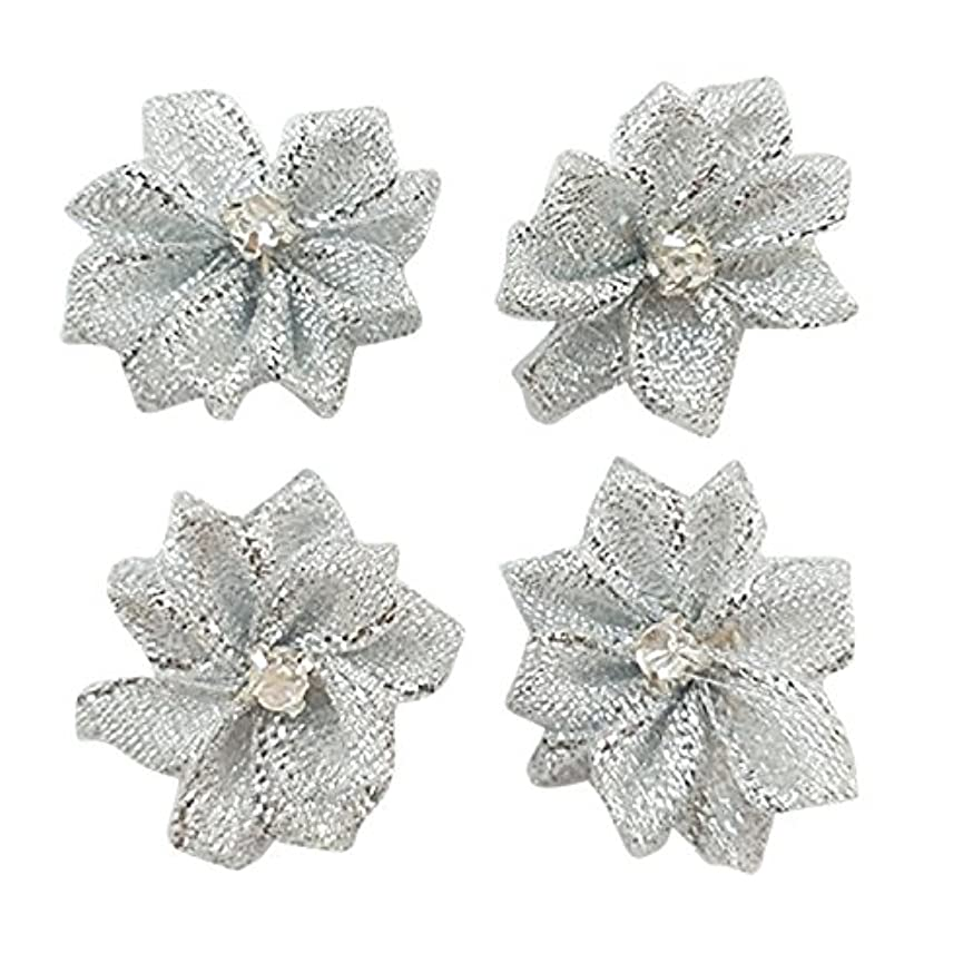 Dandan DIY Upick More Than 26 Colors 40PCS Satin Ribbon Flowers Bows Rose w/Rhinestone Appliques Craft Wedding Dec (Silver)