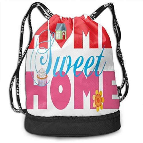 NoBrand Drawstring Backpack String Bag Casual, D2381 House Cupcake And Flower On Words With A Heart Shape Real Estate Property