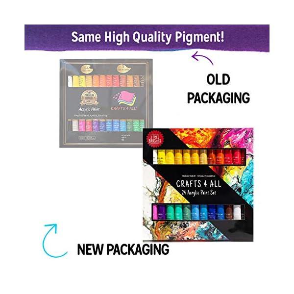 Pintura acrílica 24 set de Crafts 4 All para papel, lienzo, madera, cerámica, telas y manualidades. Colores no tóxicos. Pigmentos duraderos: para principiantes, estudiantes y artistas profesionales