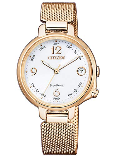 CITIZEN Damen Analog Eco-Drive Bluetooth Uhr mit Edelstahl Armband Gold EE4033-87A