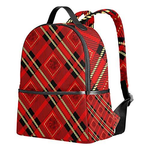 Ahomy Schulrucksäcke Rot Schwarz und Gold Rose Tartan Plaid Rucksack Schultertaschen für Mädchen Jungen