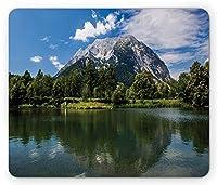 ランドスケープマウスパッド、ロッキーマウンテンの風景、森と高いオーストリアアルプスの穏やかな湖、標準サイズの長方形滑り止めゴムマウスパッド、グリーンブルーホワイト