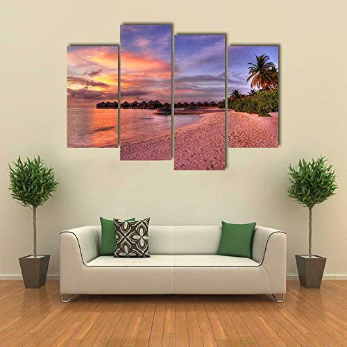 GSDFSD Cheap 4 Part Wall Art Sunset Beach Landscape Canvas Pictures Painting Kitchen (160x100 cm Frameless Landscape Prints Pictures For Home Living Dining Room
