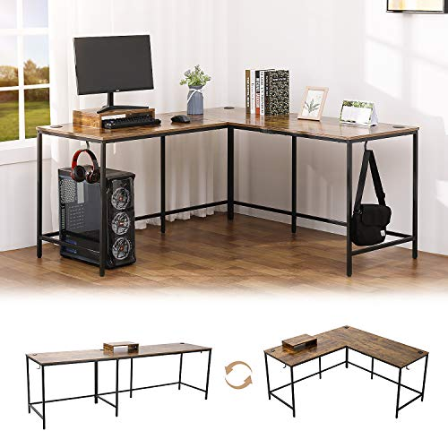 """KOTPOP L Shaped Desk, 92"""" Home Office Computer Desk, Gaming Desk Reversible Corner Gaming Computer Desk with Monitor Stand, Sturdy Writing Workstation Table 3 Cable Holes, Rustic Brown"""