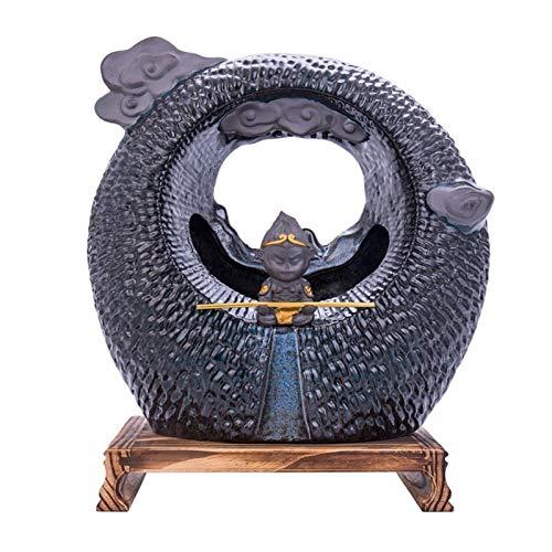 Hogar y Cocina Fuentes de Interior Feng Shui Resina Fuente de Escritorio del Mono de decoración del hogar Decoración de Escritorio Fuente de Cerámica Estatua de la Fuente de Agua Buda
