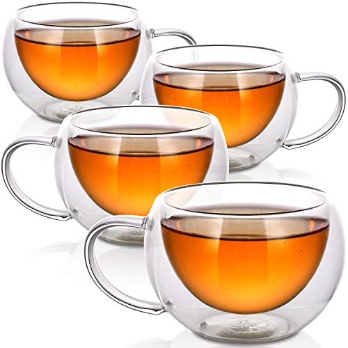 Teabloom Modern Classic Insulated Cups – 6 oz / 200 ml – Set of 4 Double Walled Glass Cups for Tea or Coffee