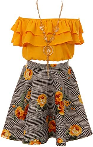 Cold Shoulder Crop Top Ruffle Layered Top Flower Girl Skirt Sets for Big Girl Mango 10 JKS 2130S product image