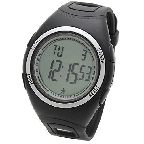 [LAD WEATHER] ウォーキング腕時計 歩数計 ストップウォッチ スポーツ アウトドア時計 lad011 (ブラック)