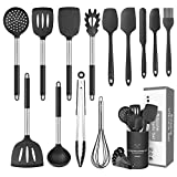 CIYOYO Kitchen Utensil Set, 15 Pcs Silicone Cooking Utensils Set, Cooking Tools Turner Tongs Spatula Spoon,Stainless Steel Kitchen Utensil Sets with Holder for Nonstick Cookware (Black)