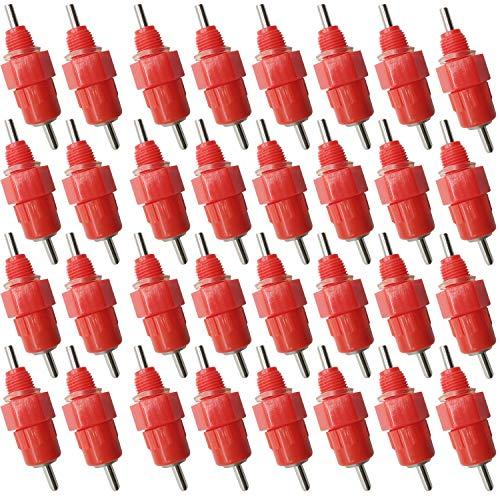 TIHOOD 35PCS Automatic Chicken Water Nipple Drinker Feeders Poultry Hen Screw Style