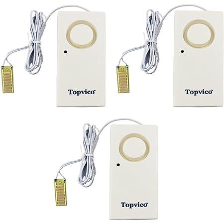 Topvico Water Leak Sensor Detector Flood Alarm for Basement 120dB Work Alone Battery Operated 3 Packs