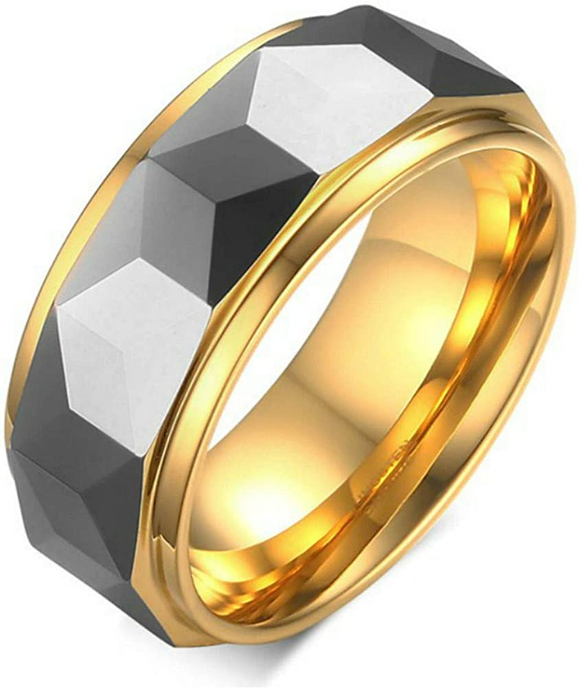 Tungsten Carbide Rings for Men - 8mm Wedding Bands Gold Plated Engagement Ring High Polish Dome Comfort Fit Size 7-13