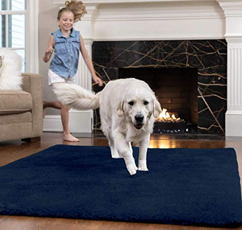 Gorilla Grip Original Faux-Chinchilla Area Rug 7.5x10 FT, Many Colors, Soft and Cozy Washable Kids Carpet, Floor Rugs, Luxury Shaggy Carpets for Home, Nursery, Bed and Living Room, Navy Blue