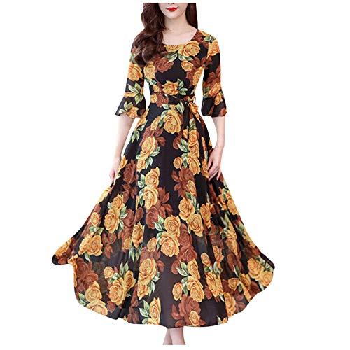 Vestido Largo Floral para Mujer Vestidos de Fiesta Vintage de Media Manga Boho O Cuello Vestido de Verano en la Playa
