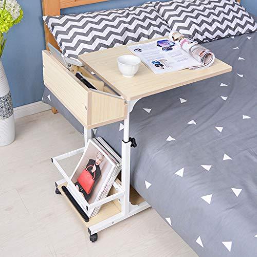 WUHX Krankenhaus-medizinischer Tisch, höhenverstellbarer Nachttisch, tragbarer Bettwagen-Aufbewahrungsbehälter, für Krankenhaus, Zuhause,Weiß