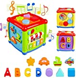 Tormeaw Early Development & Activity Learning Toys 12-18 Month Baby Activity Cube with Music and Colorful 6 in 1 Shape Sorter Blocks Toys for Toddlers