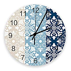 Wall Clock Silent BedroomWall Clock Colorful Classic Chateau Floral Pattern Blue and Yellow Modern Rustic Clocks for Walls Decor Round Clock for Kitchen/Living Room/Bathroom/School/Office 12x12inch