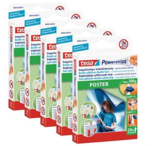 tesa Powerstrips® Poster-Klebestreifen, max. 200 g, spurlos wieder ablösbar (5 Packungen = 100 Stück)
