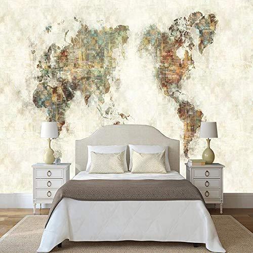3D vliesbehang foto vlies premium fotobehang modern olieverfschilderij wereldkaart behang wandschilderij 300*210cm #1623