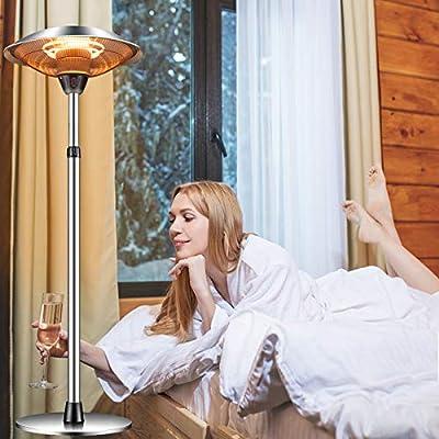 Patio Heater Outdoor Electric Heater - Garage Heater Infrared Carbon Tube Heater 3 Adjustable Level Standing Patio Heater for Garden Party Balcony, Weatherproof,1500w/110vOverheat Protection,Garden