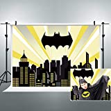 Riyidecor Superhero Cityscape Batman Backdrop Polyester Fabric Night Buildings Scene Photography Backgrounds 7x5 Feet Child Boy Party Celebration Decor Photo Shoot Studio