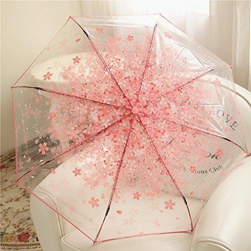 LYYUMBRELLAS Regenschirm Romantische Kirschblüten DREI Falten Umbrella Transparente Regenschirm Frühling Und Sommer Mode Koreanische Version Kreative Prinzessin Umbrella Weiblich (Farbe : #1)