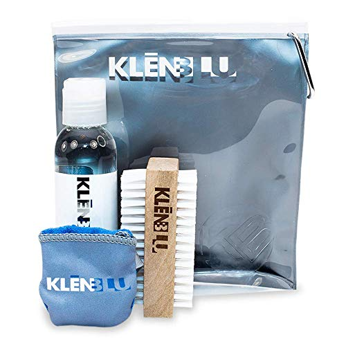 Professional Sneaker Cleaning Kit by KlenBlu - Premium Shoe Cleaner with Double Sided Nylon Brush and Microfiber Towel - Reusable Carry Case with Carabiner Clip (4 ounce)