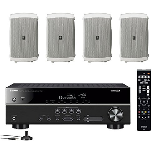 Yamaha 5.1-Channel Wireless Bluetooth 4K A/V Home Theater Receiver + Yamaha Natural Sound 2-Way 120 watts Indoor/Outdoor Weatherproof Speakers (Set of 4)
