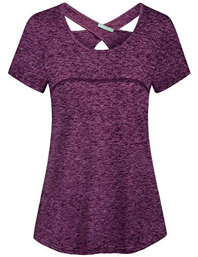 Kimmery - Blusa de yoga para mujer, manga corta, cuello redondo, espalda cruzada, No se arruga., 3XL, Púrpura, rojo