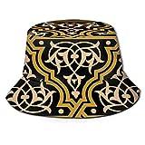 Yoliveya Sombrero de Pesca,Moorish Fez Seamless Border Ocre en,Senderismo para Hombres y Mujeres al Aire Libre Sombrero de Cubo Sombrero para el Sol