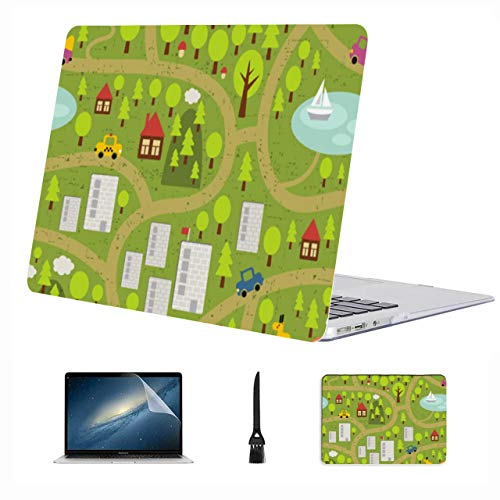 Macbook Cover 13 Inch City Map Simple Clear Plastic Hard Shell Compatible Mac Air 13' Pro 13'/16' 15inch Macbook Pro Case Protective Cover For Macbook 2016-2020 Version