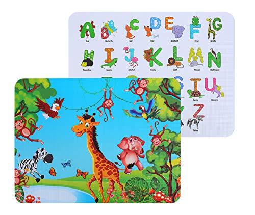 Kuke 2 Stück Platzset Kinder Silikon, BPA-frei Platzset Abwischbar, Platzdeckchen Rutschfest Zusammenklappbar Tischsets(Englisch Alphabet-Giraffen Muster)