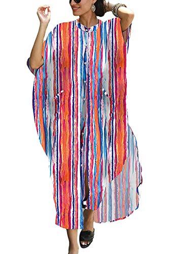 Orshoy Kleid Maxikleider Damen Sommer Langes Kleid Strandkleid Bikini Coverups Freizeitkleider Sommerkleid One Size Mit Taschen Muticolor