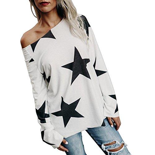 Damen Bluse, KIMODO Frauen Mädchen trägerLoses Stern Sweatshirt Lange Hülsen Ernte Jumper Pullover Spitzen (Weiß, 3XL)