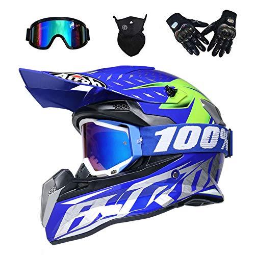 VOMI® Moto Motocross Casques, Casque Cross Off Road Intégral Parasol, Gants, Lunettes, Masque, D. O. T Standard Enfants Quad Bike VTT Go Karting Rouge,Bleu,S