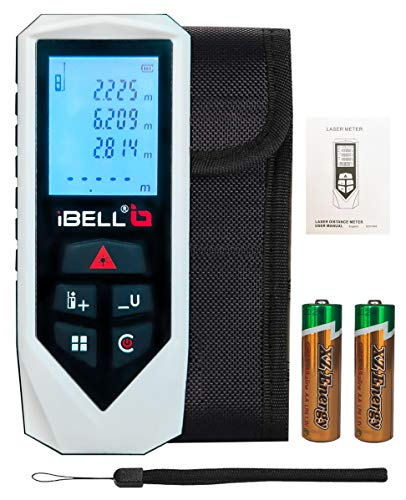 IBELL DM60-01 Classic Laser Measure 196Ft/60M Mute Laser Distance Meter with Backlit LCD and Pythagorean Mode, Area and Volume, Battery, Pouch and Hand Strap Included
