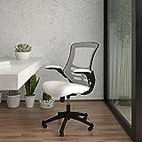 Flash Furniture Silla de escritorio ergonómica, giratoria, respaldo medio, de malla, reposabrazos abatibles, color Blanco