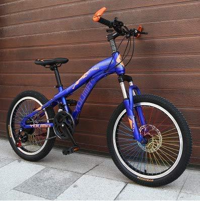 Nueva marca Mountain Bike Carbon Acero 21 Velocidad 24 pulgadas Ruedas Niños Señoras Estudiante Estudiante Bicicleta Al Aire Libre Discos de Disco Freno BMX Bicicleta,Azul
