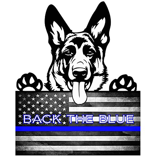 Thin Blue Line American Flag (Ver.4) 'German Shepherd K-9' Full Color Vinyl Decal/Sticker for U.S. Police Supporters. Size: 9'. (Manufactured by One Stop Decals)