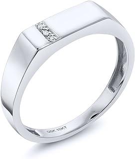 خاتم رجالي من الألماس الأبيض عيار 10 قيراط ذهب أبيض خالص من جوهرة ستون كينج