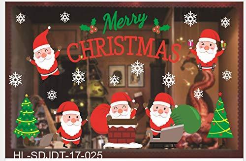 ALBA s.r.l Vetrofania Natale Negozio Decorazione Adesiva (Babbi Natale/Camino)