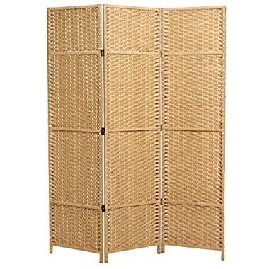 MyGift Folding Woven Paper Rattan Room Divider, 3-Panel Privacy Screen, Beige