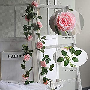 WEFOUND 2 x 200cm Artificial Ranunculus Blossoms Hanging Rattan Garland Wreath Fake Flower Vine Leaf for Home Party Garden Fence Wedding Christmas Decoration (Pink)