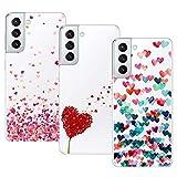 Young & Min Funda para Samsung Galaxy S21 Plus, (3 Pack) Transparente TPU Carcasa Delgado Anti-Choques con Dibujo de Corazón