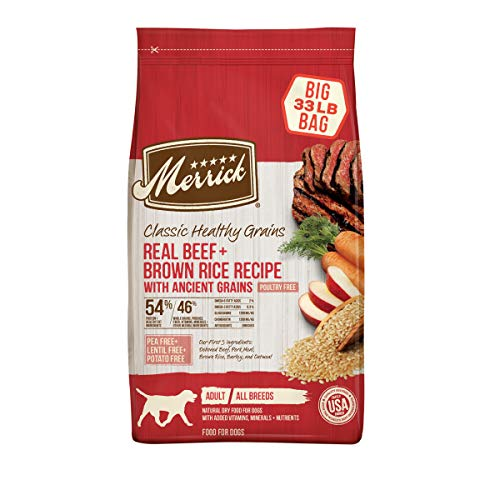 Merrick Classic Healthy Grains Dry Dog Food Real Beef & Brown Rice Recipe with Ancient Grains, Limited Time Offer - 33 lb. Bag