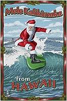 HD ハワイからの新しいメリークリスマス-サンタサーフィン(米国製52x38cm成人向けプレミアム500ピースジグソーパズル!)