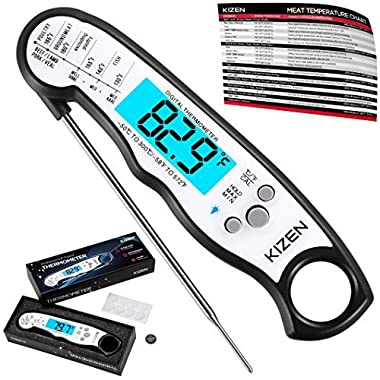 Instant Read Meat Thermometer - Best Waterproof Ultra Fast Thermometer with Backlight & Calibration. Kizen Digital Food Thermometer for Kitchen, Outdoor Cooking, BBQ, and Grill!
