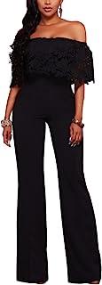 Womens Off Shoulder High Waisted Long Wide Leg Jumpsuits...