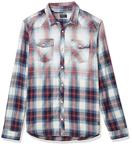 Buffalo David Bitton Herren Long Sleeve Regular fit Shirt. Button Down Hemd, Fahrrad-Rot, Klein